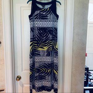 Multiples Print Tropical Dress yellow maxi